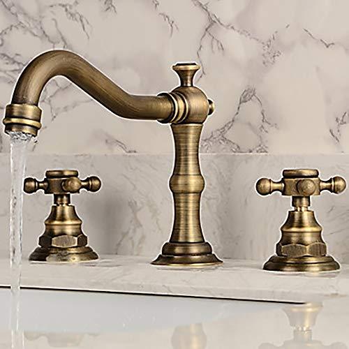 Dapai Antikes Kupfer Zwei Griffe DREI Löcher Bad Wasserhahn Retro Waschbecken Wasserhahn H006 (Moen Bad Wasserhahn Griff)
