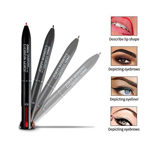 Pawaca 4 in 1 Eyeliner Stift Lipliner Augenbrauenstift - Wasserfester Eyeliner Pen...