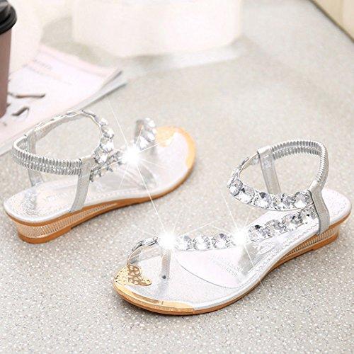 cooshional Sandalen damen flip flops flache Sandaletten Sommer Strand zehentrenner Pantoletten Golden