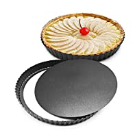 LSDD Bakeware 8 inch Nonstick & Quick Release Coating Loose Bottom Quiche Tart Pan, Tart Pie Pan, Round Tart Quiche Pan with Removable Base