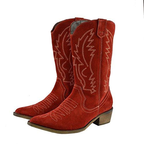 Bottes Bout Louest Rouge Cowboy De Femme Pointu Cuir Du Large Dames HqRW1
