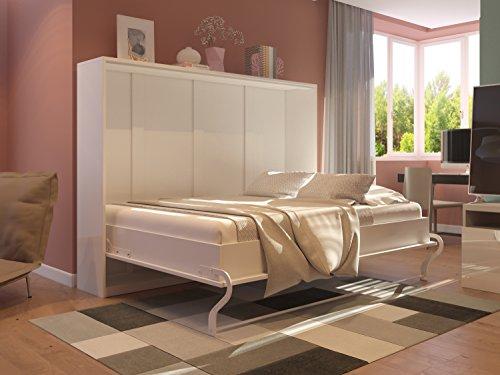 Schrankbett 140cm Horizontal Weiß Hochglanzfront SMARTBett mit SMART Punkt Kaltschaummatratze 140x200cm, ideal als Gästebett – Wandbett, Schrank mit integriertem Klappbett, Sideboard - 2