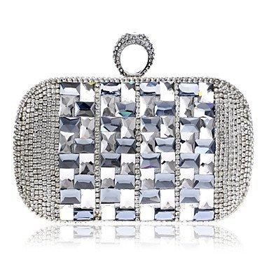 Frauen in Handarbeit Hochwertige Farbe Acryl Diamanten Partei/Abend Tasche Silver