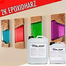 FOLIDIP 0,75-30 Kg Premium Epoxidharz Glasklar Farbig Laminierharz Gießharz Tisch Boden GFK (RED, 3,00 Kg (16,33€/Kg))
