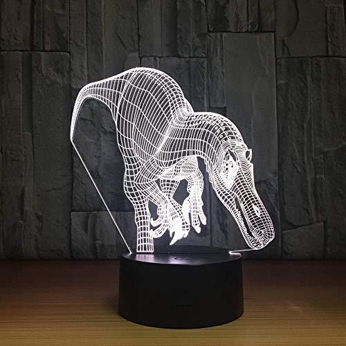 ZCHPDD Carino Luce Notturna 3D LED Luce Animale 7 Colori Cambiano Dinosauro 3D Illusione Luce Notturna USB Desktop Decorazione Scrivania Decorazione Interna Sedici Colori 200 * 140Mm (Remoto)