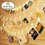 knonew LED Foto Clip Lichterkette–20/40photo Clips 2,4m batteriebetrieben LED-Bilderleuchte für die Dekoration zum Aufhängen Foto, Notizen, Artwork (warmweiße), plastik, silber, 40 Photo Clips