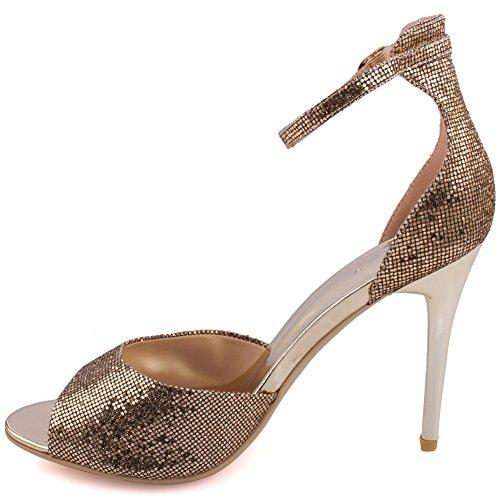 """Unze Le donne """"Caroline' Glittery cinturino alla caviglia metà bassa tacco alto parte Prom ottenere insieme il carnevale sera sandali tacco UK dimensioni 3-8 Oro"""