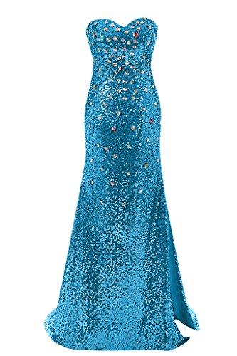 Sunvary Graceful Mermaid Shade Slide Slit Sweetheart d'onore abito da donna in abito da sera Blu