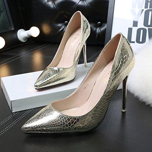 Bocca poco profonda singolo temperamento scarpe video di punta sottile e ultra-alta con notte Scarpe donna The Gold