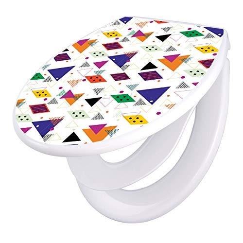 banjado Familien WC Sitz mit Absenkautomatik | Toilettendeckel mit Kindersitz | Klodeckel weiß | Toilettensitz mit Soft Close | 44 x 37 cm WC Deckel mit Motiv Memphis