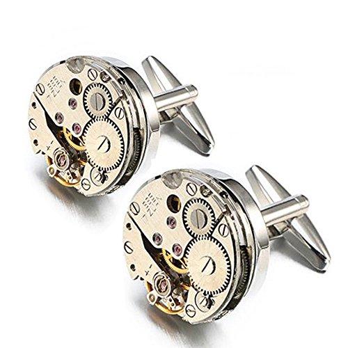 Mens Cufflinks Enjoit Mechanical Watch Movement Shape Steampunk Cufflinks for Men Vintage Jewelry Gifts