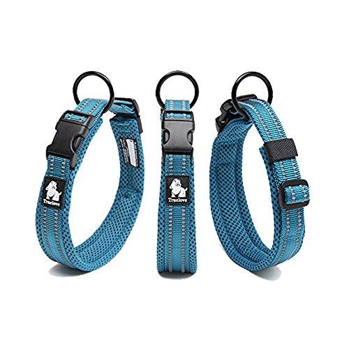 Kismaple Suave Respirable collares de malla de perro 3M con rayas reflectantes de noche Comfy y suave Collares ajustables para perros, 8 tamaños (L (Longitud:45-50cm), Azul)
