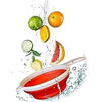 HUZHAO Poetryer 1Pcs Coladores Cocina Colador de Silicona Colador de Cocina Plegable Colador Plegable Cesta de Frutas contenedor de Verduras Lavado Escurridor