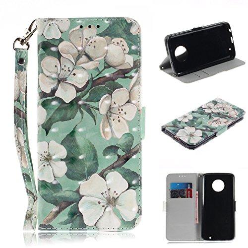 Moto G6 Plus Hülle,Moto G6 Plus Leder Handyhülle,WIWJ Wallet Case[3D Lackiertes Verbindungsmittel Bracket Holster]Schutzhüllen für Moto G6 Plus-Grüne Blatt Aquarell Blume
