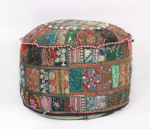 Jaipurtextilehub Bohemian Pouf Ottoman Green Patchwork