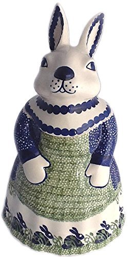 polish-pottery-11-high-mama-bunny-rabbit-cookie-jar-p324-spring-bunny-by-poughkeepsie-polish-pottery
