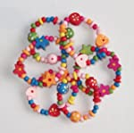 Lot de 8 bracelets en bois color�s po...