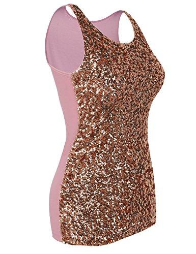 PrettyGuide Damen Shimmer Glam Pailletten verziert Sparkle Trägershirt-Weste Tops Rosé Gold
