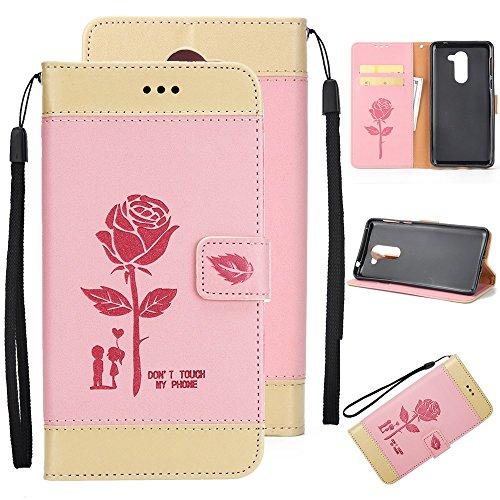 EKINHUI Case Cover Gemischte Farben Rose Blume matt Premium PU Leder Brieftasche Stand Case Cover mit Lanyard & Card Slots für Huawei Hornor 6x ( Color : Purple ) Pink