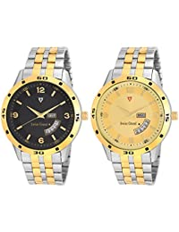 Swiss Grand Silver & Gold Stainless Steel Strap Analogue Watch For Men Pack Of-2 (SG-1196)