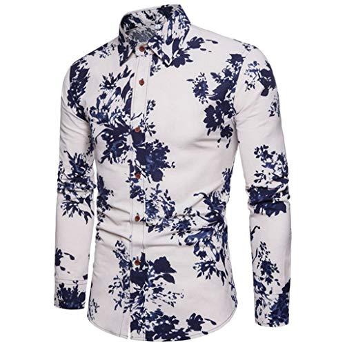 Notdark Herren Hemd Baumwolle Langarm Slim-Fit Hemden für Freizeit Business Arbeit Blumendruck Printed Shirt(3XL,Blau) -