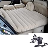 Universal Auto Car Inflatable Air Mattress Bed for Outdoor Traveling Vehicle SUV Back Seat Extended Cushion Sleep (Beige)