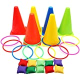 Aparty4u 3 In 1 Ring Toss Game Set Soft Cones Bean Bags Puzzle Games Set, Indoor Outdoor Family Games Birthday Party Supplies 26 Pieces Set