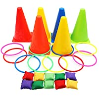 OurWarm 3 in 1 Ring Toss Game Set Soft Traffic Cone Bean Bags for Throwing, 26pcs Puzzle Carnival Garden Backyard Outdoor Games for Kids Sports Day Games Supplies 16