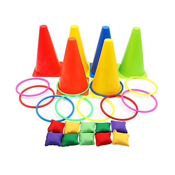 OurWarm 3 in 1 Ring Toss Game Set Soft Traffic Cone Bean Bags for Throwing, 26pcs Puzzle Carnival Garden Backyard… 1