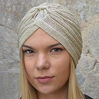 RACEU ATELIER Turbante MIA Dorado - Turbantes Mujer - Gorro Mujer - Diadema Cabeza Cubierta -