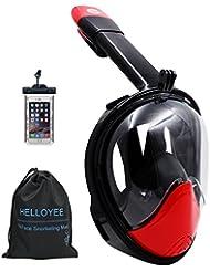 2017 HELLOYEE Masque de Plongée Compatible avec GoPro Caméra Pleine Vision Pour Adultes et Enfants, Masque de Snorkeling Full face Anti-Buée Anti-Fuite Avec Pochette Téléphone étanche (rouge-noir, L/XL)