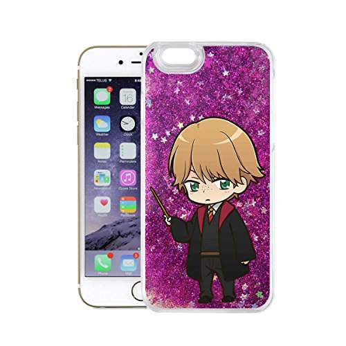 finoo | Iphone 6 Plus / 6S Plus Flüssige Liquid Lilane Glitzer Bling Bling Handy-Hülle | Rundum Silikon Schutz-hülle + Muster | Weicher TPU Bumper Case Cover | Draco Malfoy Anime transparent Ron Weasly Anime transparent