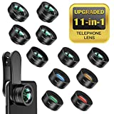 Bamoer Kit Objectif Smartphone, 11 en 1 kit Objectif Universel, Fisheye, Macro,Wide Angle,Quatre Filtres de Couleur,Kaléidoscope, Téléobjectif,CPL/Starburst Filter pour iPhone Samsung Huawei Android