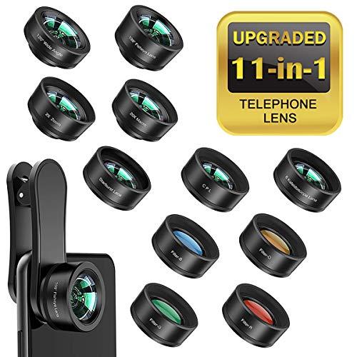 Bamoer 11 in 1 Handy Objektiv Set, Fisheye,Weitwinkelobjektiv, Makro,Teleobjektiv, Kaleidoskop 3/6 Objektiv,4 Farbfilterlinse/CPL/Flow/Star/Radial Filter,für und die meisten Smartphones