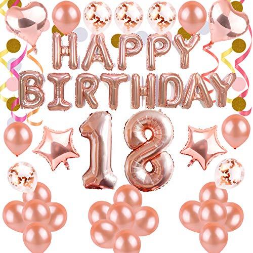BEMEI Geburtstag Dekoration Set Rose Gold Happy Birthday Banner Party Supplies für Mädchen und Jungen