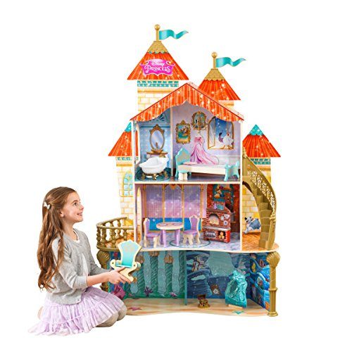 KidKraft 65939 Disney� Princess Ariel Land to Sea Castle wooden Dollhouse with 3 levels of play and 12 accessories included