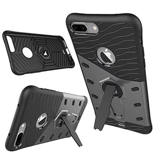 iPhone 7 Plus Coque,Lantier Dual Layer Heavy Duty hybride Armure antichoc Armure Defender Cover Protector avec 360 degrés de rotation Béquille pour Apple iPhone 7 Plus (5,5 pouces) Or Grey