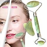 Jade Roller Massagegerät und Gua Sha Set Natürliche Anti-Aging Gesicht Abnehmen bewegen Massagegerät Gesichtsmassage für Rücken Körperhaut Hals