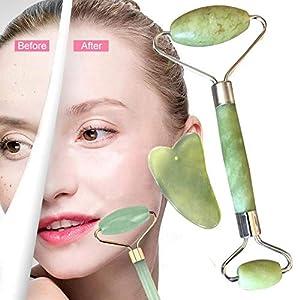 Jade Roller Massagegerät und Gua Sha Set Natürliche Anti-Aging Gesicht Abnehmen bewegen Massagegerät Gesichtsmassage für…