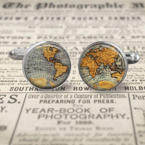 Argento lunetta gemelli rotondo in vetro vintage mappa del mondo a vela trendy groomsmen, vecchio mappa del mondo gemelli, groomsmen gift, regalo per lui, tema di viaggio, regalo per pilota, argento, in confezione regalo