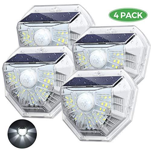 Luce Solare, 3 modalità di Illuminazione, IP67 Impermeabile, Lampada con Sensore di Movimento, Super SunPower Pannello Solare, Lampade Solari Esterna per Giardino/Cortile/Garage ...
