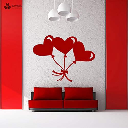 eart Shaped Balloon Vinyl Wall Stickers Art Mural Love Family Modern Home Decor Livingroom Removable D 76x57cm ()