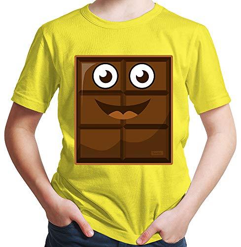 HARIZ  Jungen T-Shirt Milch Und Schokolade Junge Partner Kostüm Karneval Verkleidung Inkl. Geschenk Karte Gelb 128/7-8 Jahre