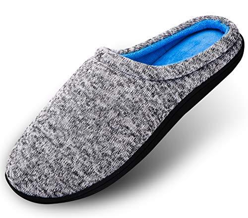 Hausschuhe Herren Pantoffeln Damen Drinnen Aus High Density Memory-Baumwolle Mit Warme Wolle-Wie Plüsch Futter Anti-Skid Gummisohle, Grau01, XL:43/44 EU
