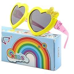 Idea Regalo - CGID Occhiali Da Sole Polarizzati Gomma Morbida a Forma di Cuore per Bambini Protezione UV400 100% con Cornice Flessibile per Bambini Ragazzi e Ragazze dai 3 ai 10 anni, K78