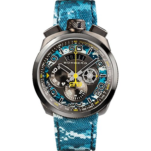 Bomberg Men's Bolt 68 45mm Multicolor Leather Band Quartz Watch 45CHPGM.035.3