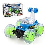 360 ° Spinning Flips enfants Télécommande Camion, Voiture à Télécommande pour Enfants Rouleau de Musique Voiture Grand (Bleu, Taille du produit (Lxlxh): 18*16*14.5cm)