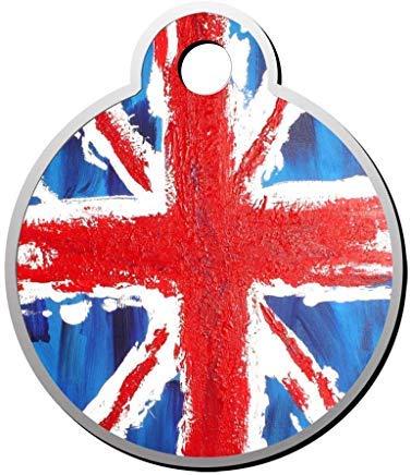 EstherMi19 Hundemarke mit britischer Flagge, personalisierbar, runde Form