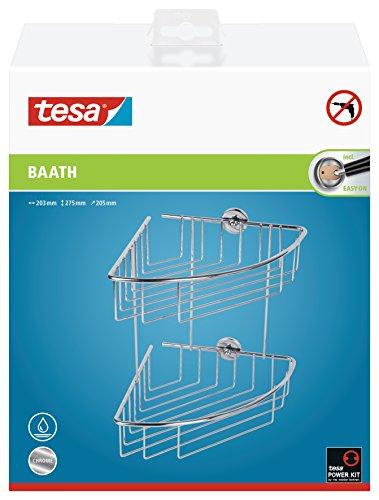 Tesa baath Plus Eck-Duschregal (zweistöckig, inkl. Klebelösung, 275mm x 203mm x 205mm) (Dusche Eck-regal Aus Marmor)