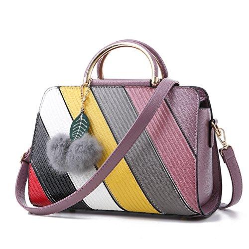 BYD - Pell Donna Handbag borsa a Spalla Borse a mano Tote Bag Shoulder Bag con maniglia in metallo Viola